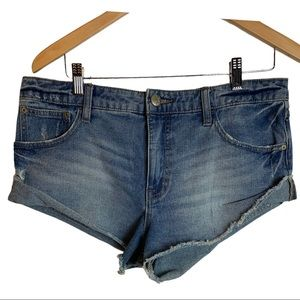 Free People Distressed Jean Shorts Size 29 Blue